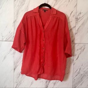 4/$30 Express Coral Rolled Sleeve Button Up SZ S
